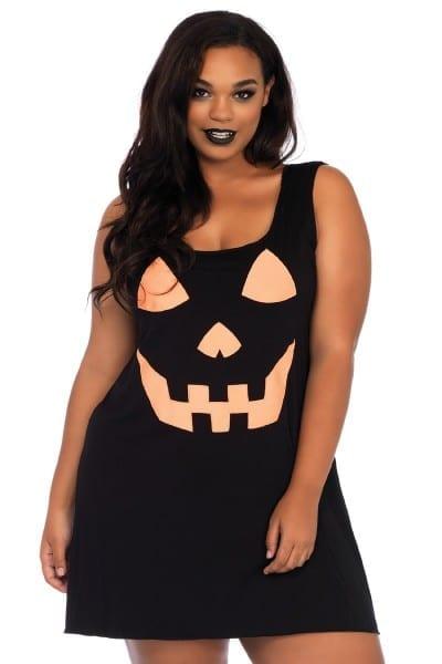 Sexy Black Jersey Pumpkin Plus Size Costume Dress