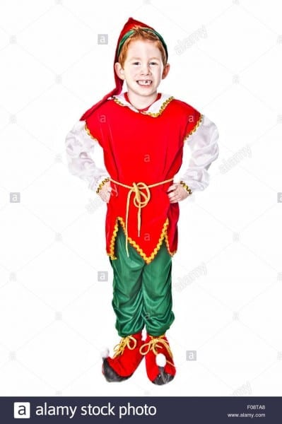 Cute Boy In A Christmas Elf Costume Stock Photo  86246560