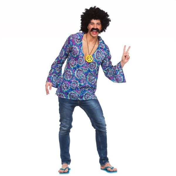 Mens 60s Funky Hippie Hippy Groovy Shirt Festival Fancy Dress