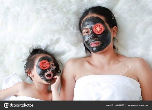 Young Woman Child Girl Coal Peeling Face Mask Sliced Tomato