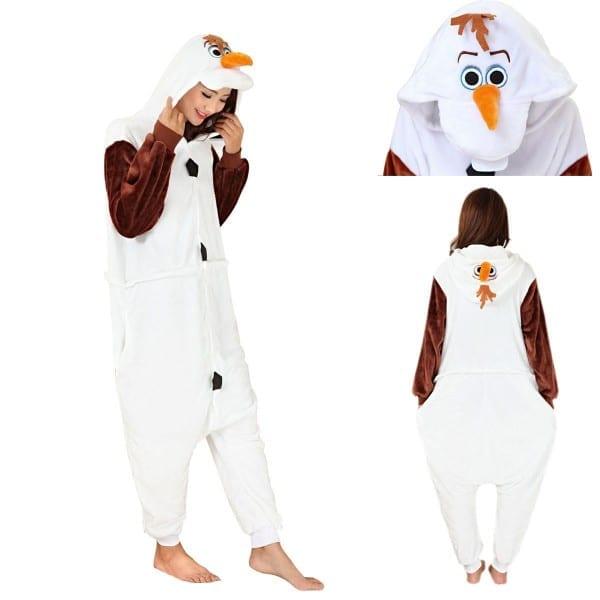 Disney Frozen Olaf Snowman Adult Kigurumi Onesies Pajamas Costume