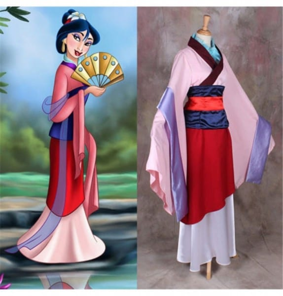 Disney Princess Hua Mulan Dress Cosplay Halloween Party Costume