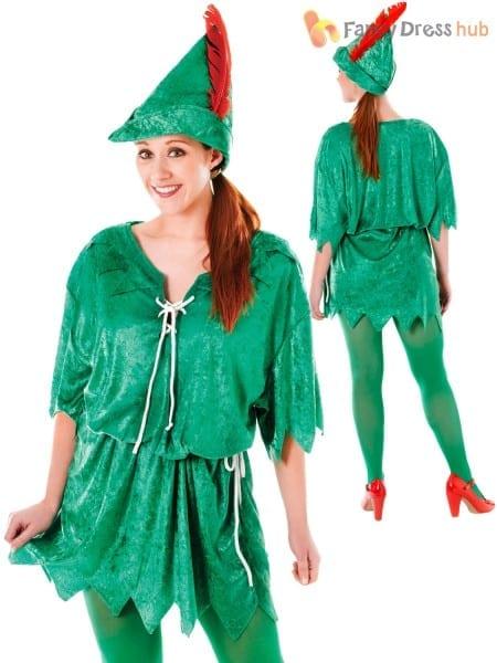 Ladies Peter Pan Fancy Dress Costume Womens Pixie Elf Robin Hood