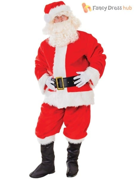 Adults Deluxe Santa Claus Costume Mens Father Christmas Fancy
