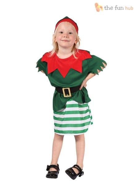 Girls Santa Helper Girl Costume For Christmas Fancy Dress Outfit