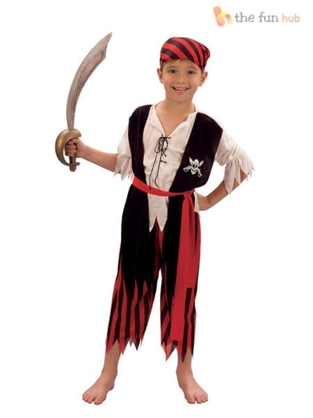 Boys Pirate Costume Kids Caribbean Fancy Dress Outfit Age 4 5 6 7