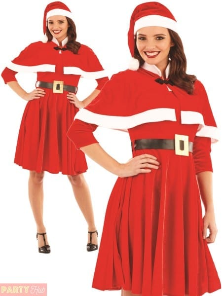 Ladies Santa Mrs Claus Costume Adults Father Christmas Fancy Dress