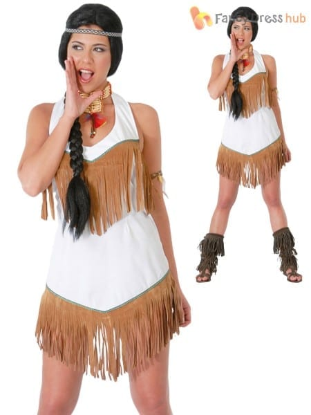Ladies Red Indian Costume Adults Pocahontas Fancy Dress Native