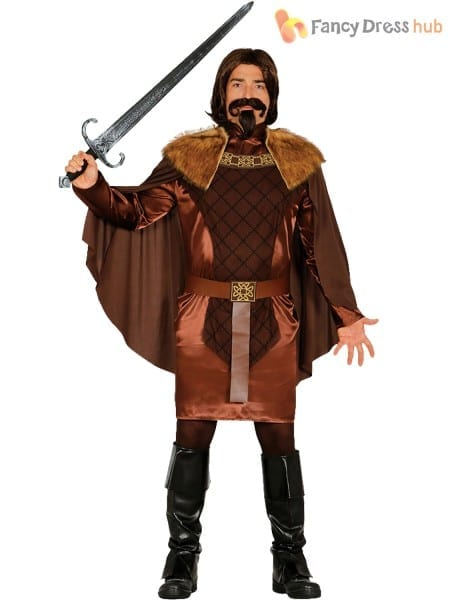 Mens Medieval Knight Costume King Warrior Historical Fancy Dress