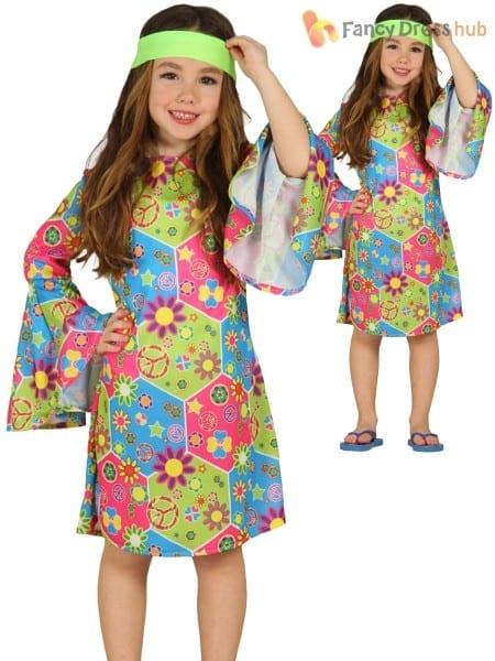 Child Hippy Costume Boys Girls Hippie Fancy Dress Kids 60s 70s