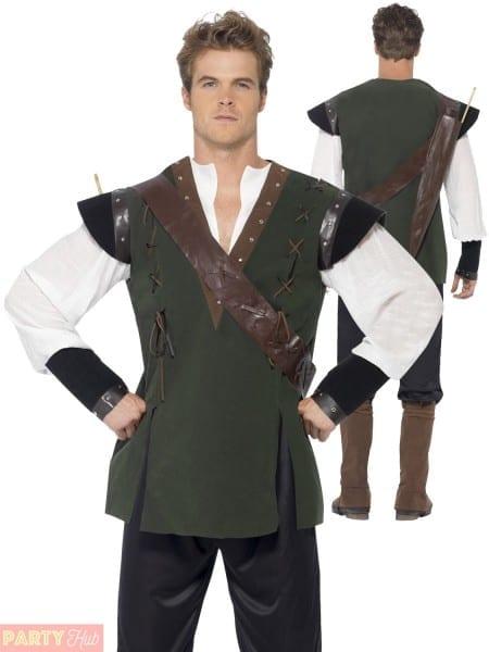 Mens Robin Hood Costume Adult Medieval Fancy Dress Prince Of