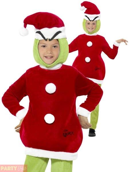 Kids Grinch Costume Book Week Day Fancy Dress Dr Seuss Child Boy