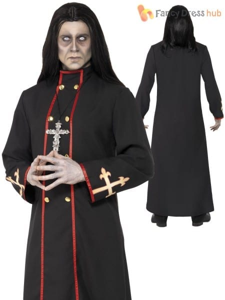 Deluxe Mens Evil Minister Of Death Zombie Priest Fancy Dress