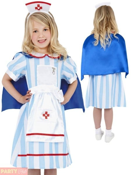 Girls Vintage Nurse Costume Childs Hospital Fancy Dress Kids Book