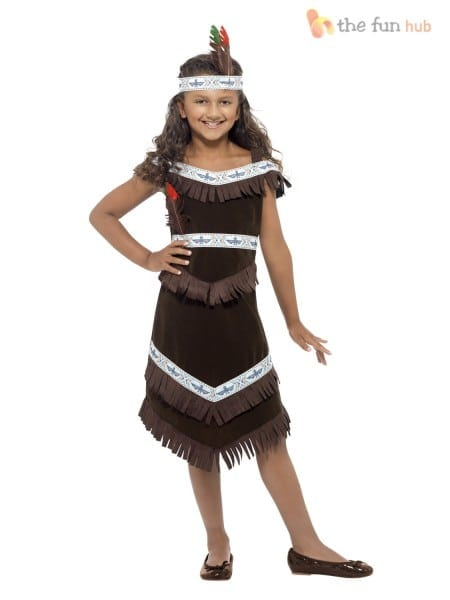 Girls Native Red Indian Fancy Dress Book Week Costume Pocahontas