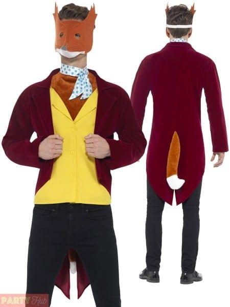 Mens Willy Wonka Fantastic Mr Fox Costume Roald Dahl Fancy Dress