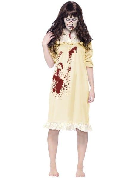 Ladies Exorcist Costume +wig Zombie Child Girl Horror Film
