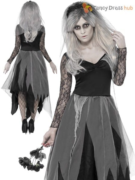 Ladies Graveyard Bride Zombie Corpse Undead Ghost Halloween Fancy