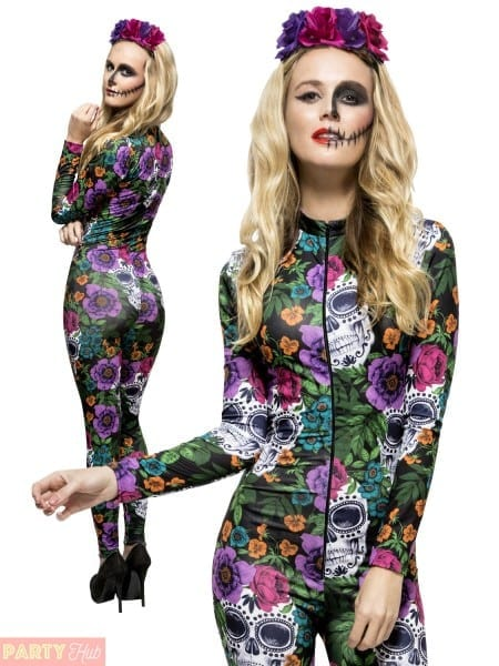 Women's Fever Day Of The Dead Halloween Floral Catsuit And Rose