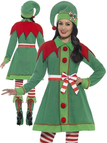 Ladies Deluxe Miss Elf Costume Adults Santas Helper Christmas