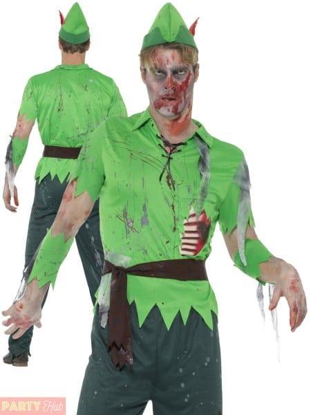 Adults Peter Pan Zombie Costume Mens Ladies Fairy Pirate Halloween