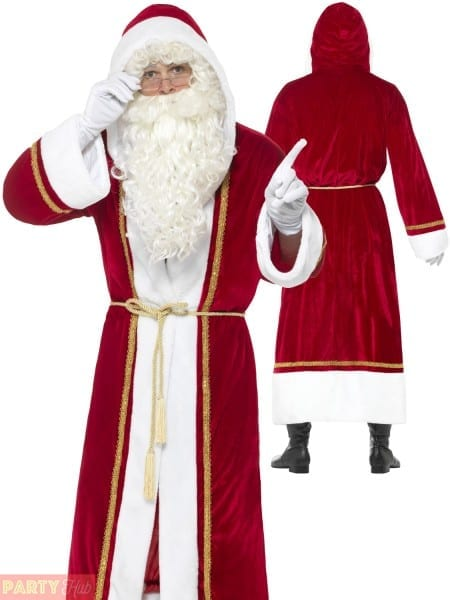 Mens Deluxe Santa Cloak Hooded Coat Father Christmas Costume Fancy