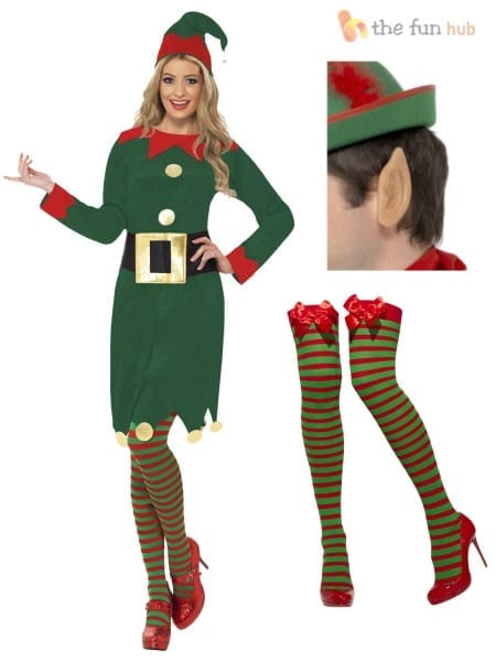 Ladies Elf Costume Ears + Stockings Santas Little Helper Christmas