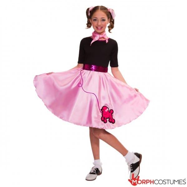 Girls 50s 60s Rock N Roll Fancy Dress Costume Kids Poodle, Kids