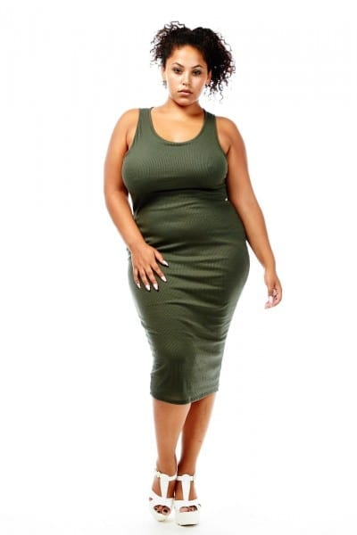 K+glam Ribbed Tank Midi Dress With Lining In Plus Size Gkd4591 Olive