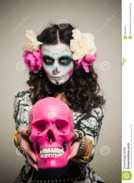 Halloween Living Dead Woman With Skull Stock Image