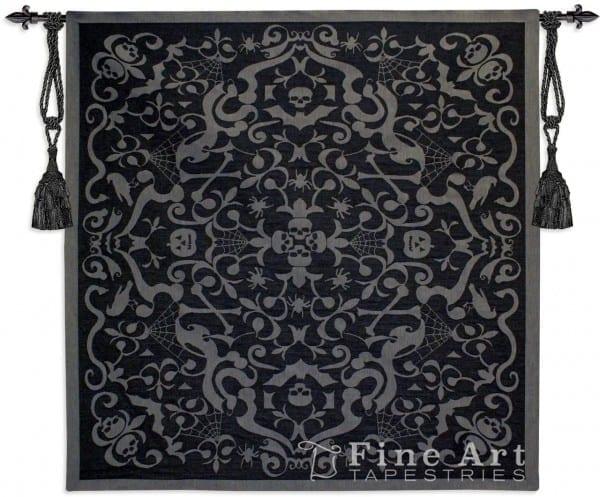 Halloween Scroll Black Ornamental Tapestry Wall Hanging, H53  X W53