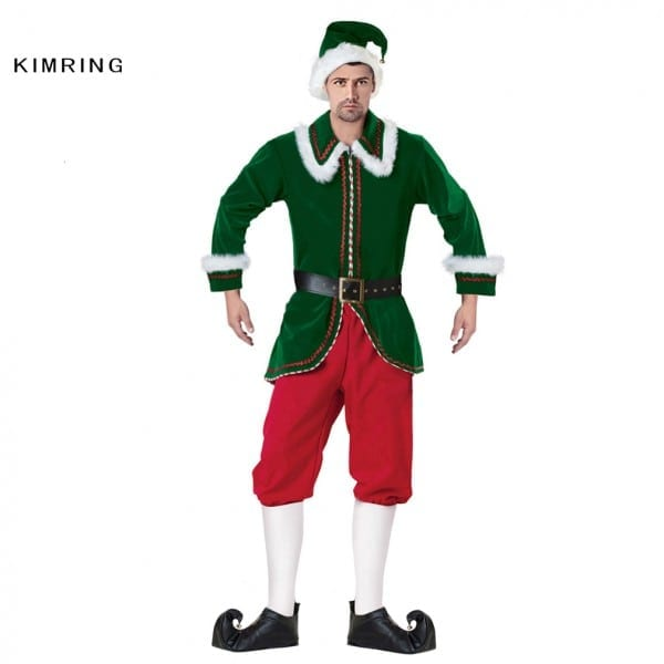 Kimring Deluxe Santa Claus Elf Christmas Costume Cosplay Adults