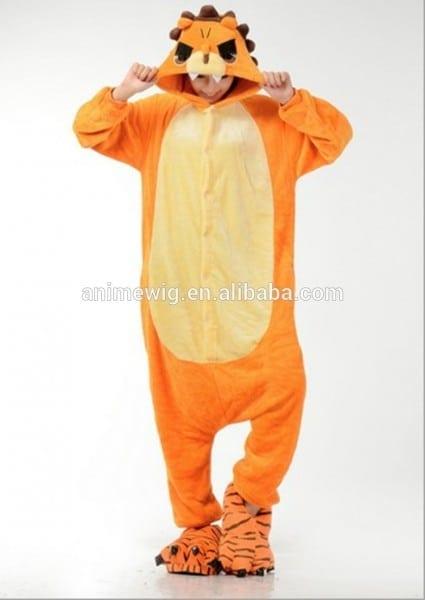 Wholesale Kartoon Sleepwear Flannel Unisex Adult Male Lion Animal