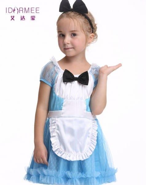 Idarmee Kids Maid Costumes Soft Satin Organza Cute Waitress Maid