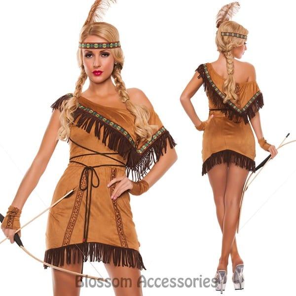 K166 Native American Indian Pocahontas Wild West Fancy Dress Up