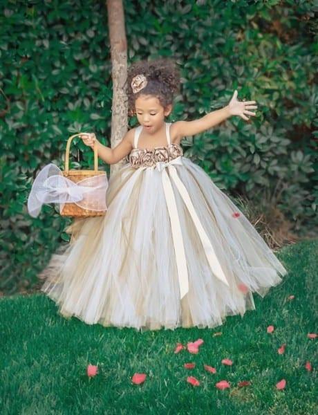 Ivory, Gold, Champagne Flower Girl Dress, Ivory Flower Girl Tutu