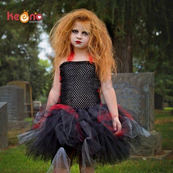 Keenomommy Girls Zombie Tutu Dress Black Red Halloween Costume