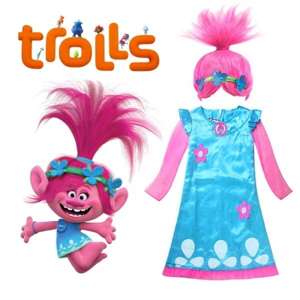 Kids Trolls Poppy Costume Deluxe Trolls Dress With Wig Outfit