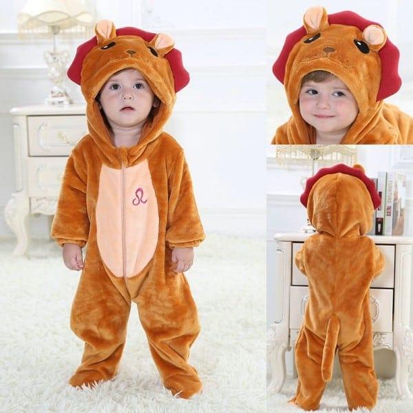 Leo Baby Zodiac Onesies Brown Lion Kigurumi Costume Toddler