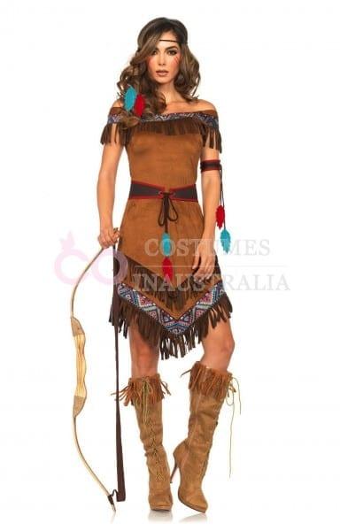 Ladies Noble Warrior Pocahontas Native American Indian Wild West