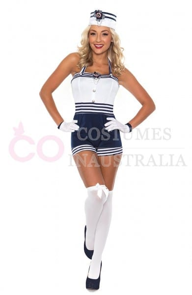 Navy Sailor Girl Uniform Ladies Rockabilly Pin Up Fancy Dress