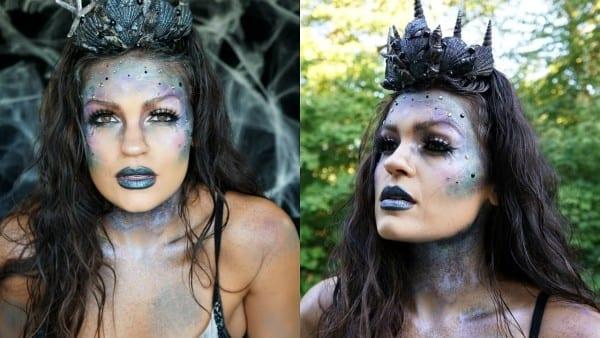 Dark Glittery Mermaid Halloween Makeup