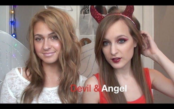 Devil And Angel Makeup + Diy Horns And Halo!