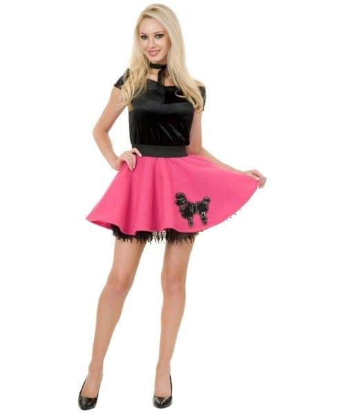 Adult Black Pink Mini Poodle Skirt 50s Costume