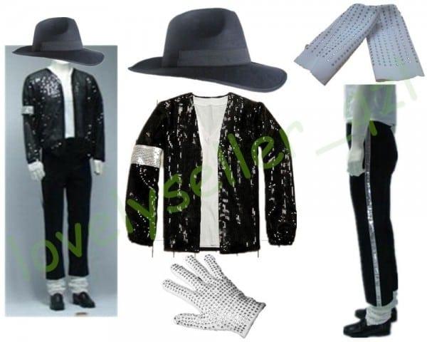 Mj Michael Jackson Billie Jean Suits Sequin Jacket+pants+hat+glove