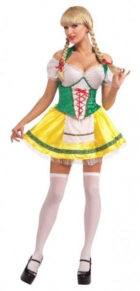 Beer Garden Girl Costume   Green & Yellow