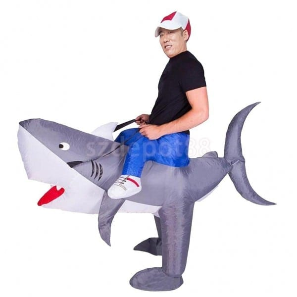 Novelty Inflatable Shark Rider Costume Blowup Halloween Outfit