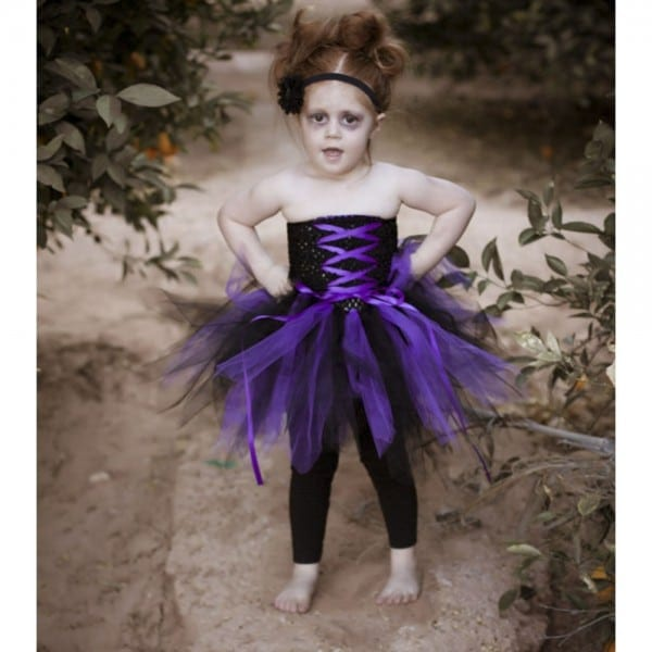 Perfect For Halloween Girl Dress Black And Purple Zombie Inspired