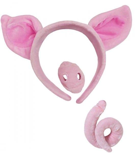 56 Pig Ears And Tail Costume, Wool Felt Pig Ears Headband Sophie