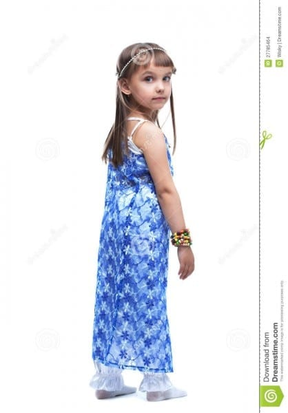 Pretty Little Girl In Indian Costume Look Back Stock Photo